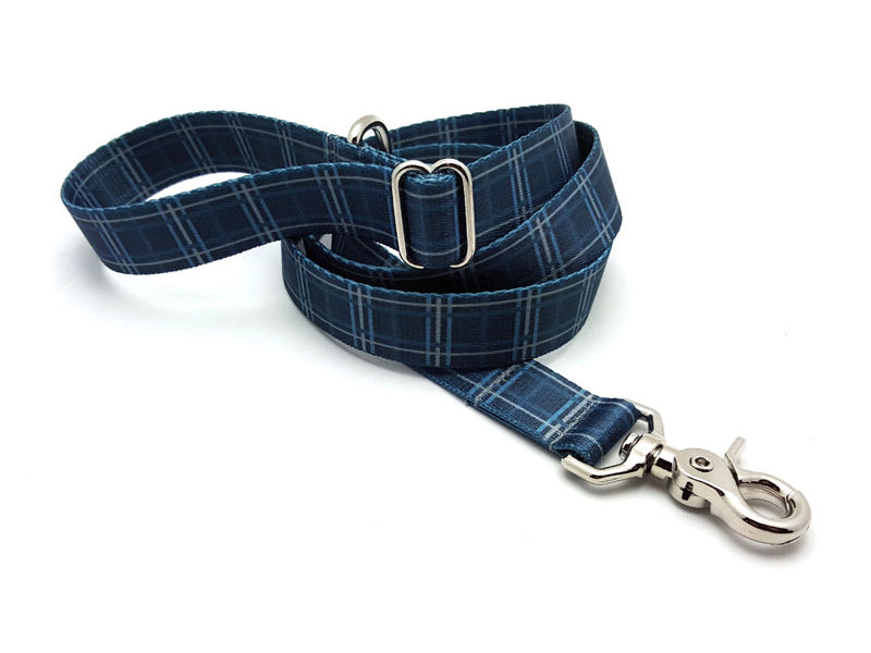 Spring Plaid Denim Adjustable Handle Leash