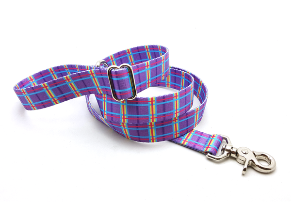 Spring Plaid Purple Adjustable Handle Leash