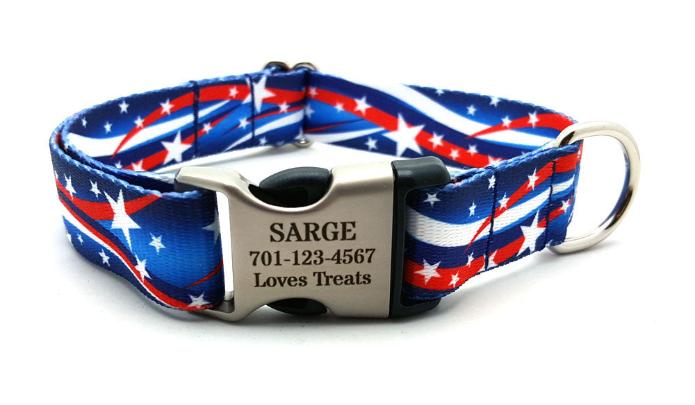 Star Spangled Polyester Webbing Dog Collar with Laser Engraved Personalized Buckle