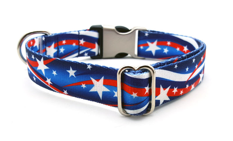Star Spangled Polyester Webbing Dog Collar with Laser Engraved Personalized Buckle - Flying Dog Collars