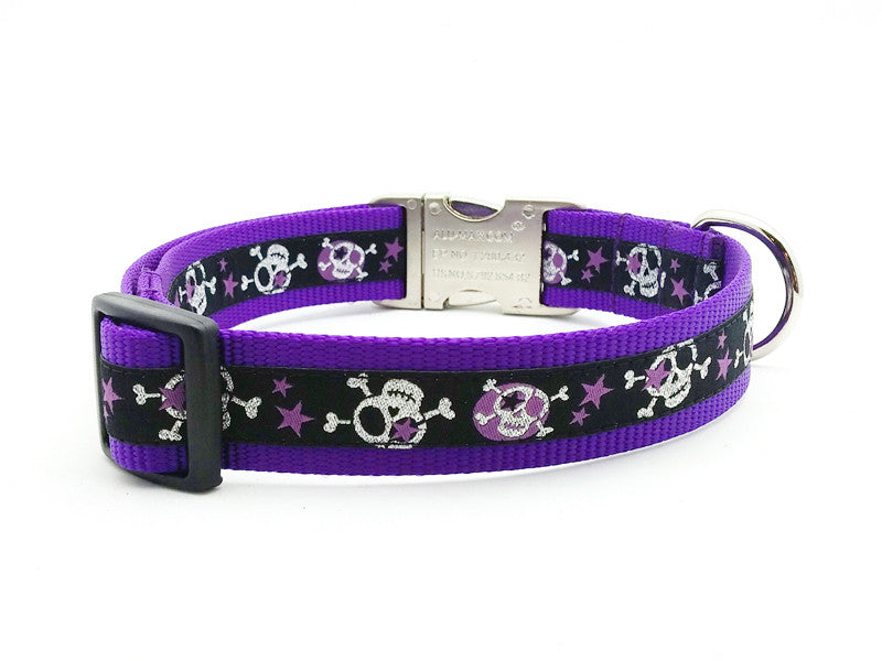 Stars & Skulls Dog Collar with Personalized Buckle - Flying Dog Collars