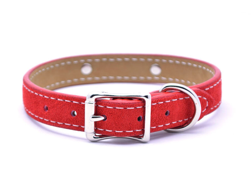 Suede Leather Dog Collar with Laser Engraved Nameplate