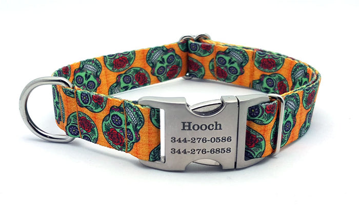 Sugar Skulls Polyester Webbing Dog Collar with Laser Engraved Personalized Buckle
