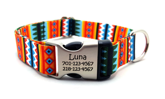 Summer Pines Polyester Webbing Dog Collar with Laser Engraved Personalized Buckle