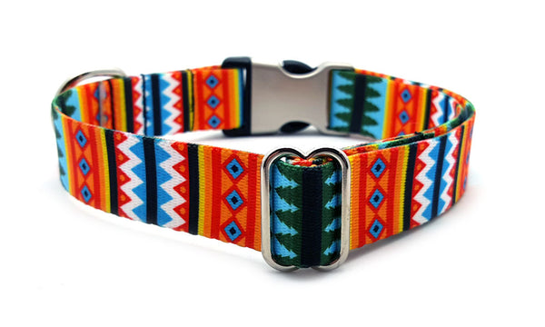 Summer Pines Polyester Webbing Dog Collar with Laser Engraved Personalized Buckle - Flying Dog Collars