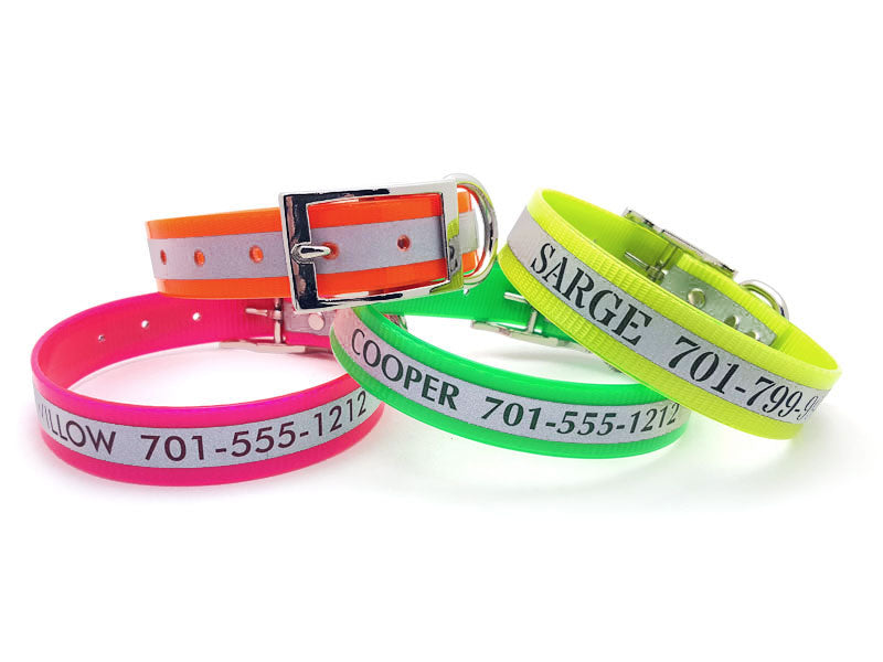 Engraved Reflective Waterproof SunGlo Dog Collars - Flying Dog Collars