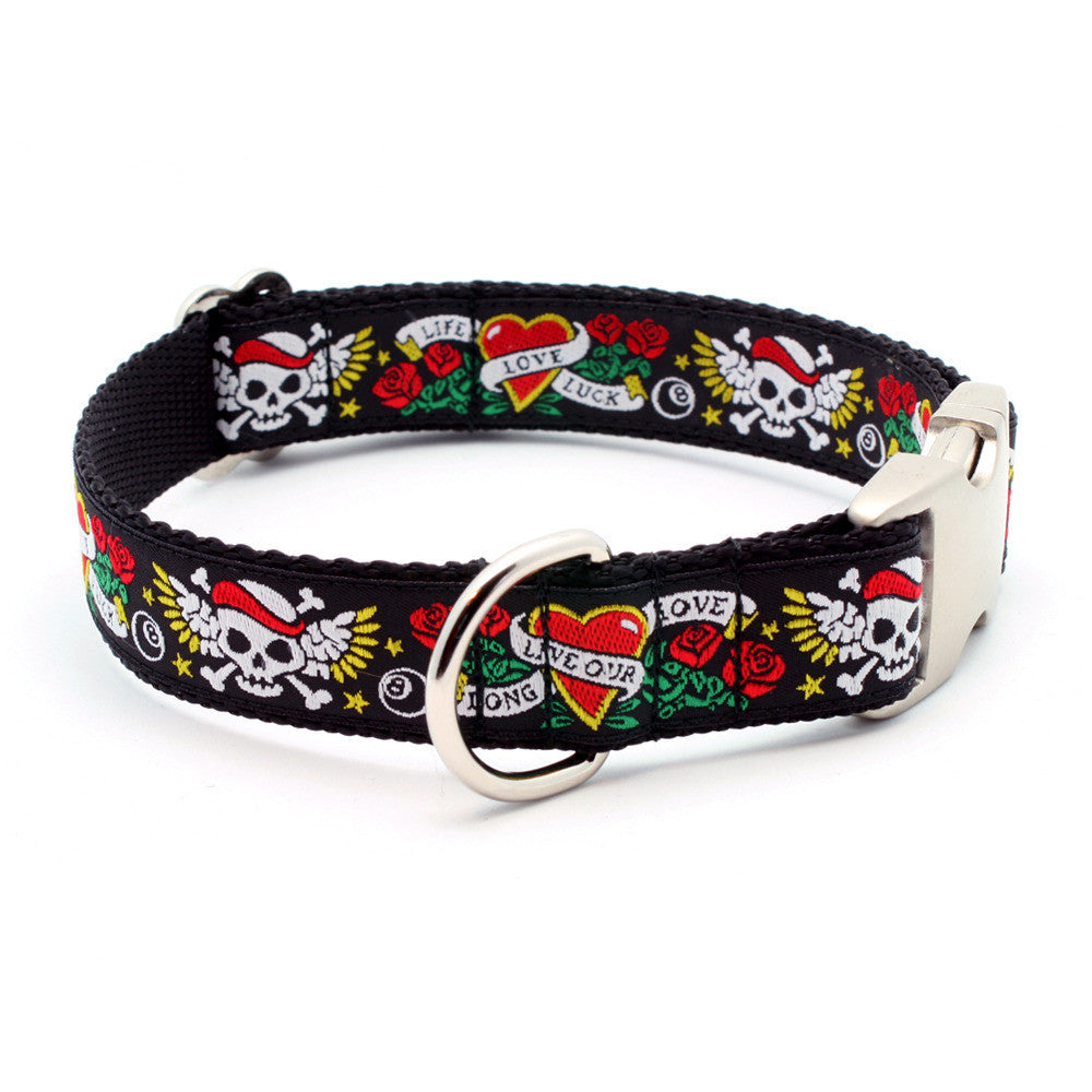 LIFE-LOVE-LUCK Tattoo Dog Collar with Personalized Buckle