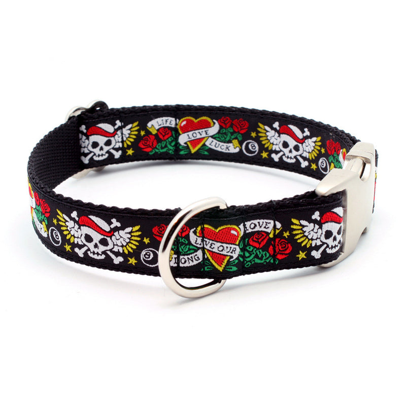 LIFE-LOVE-LUCK Tattoo Dog Collar with Personalized Buckle - Flying Dog Collars
