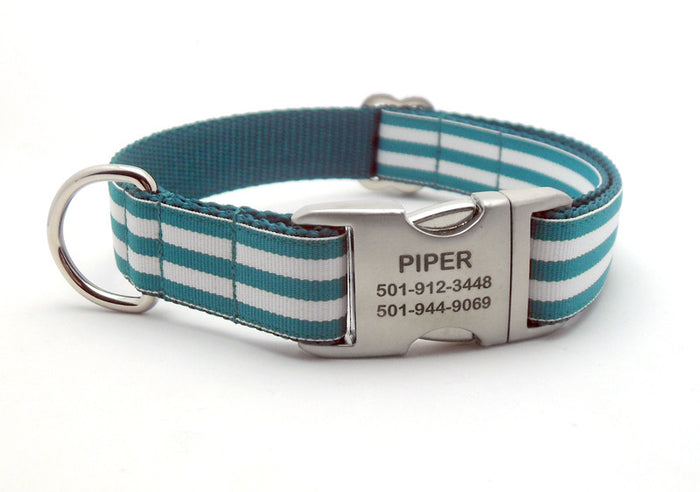 Cabana Stripe Dog Collar with Laser Engraved Personalized Buckle - TEAL - Flying Dog Collars
