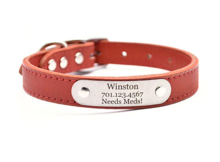 Leather Dog Collar with Laser Engraved Personalized Nameplate - TERRACOTTA