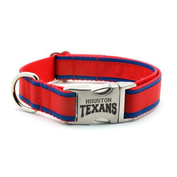 Houston Texans Dog Collar with Laser Etched Aluminum Buckle - Flying Dog Collars