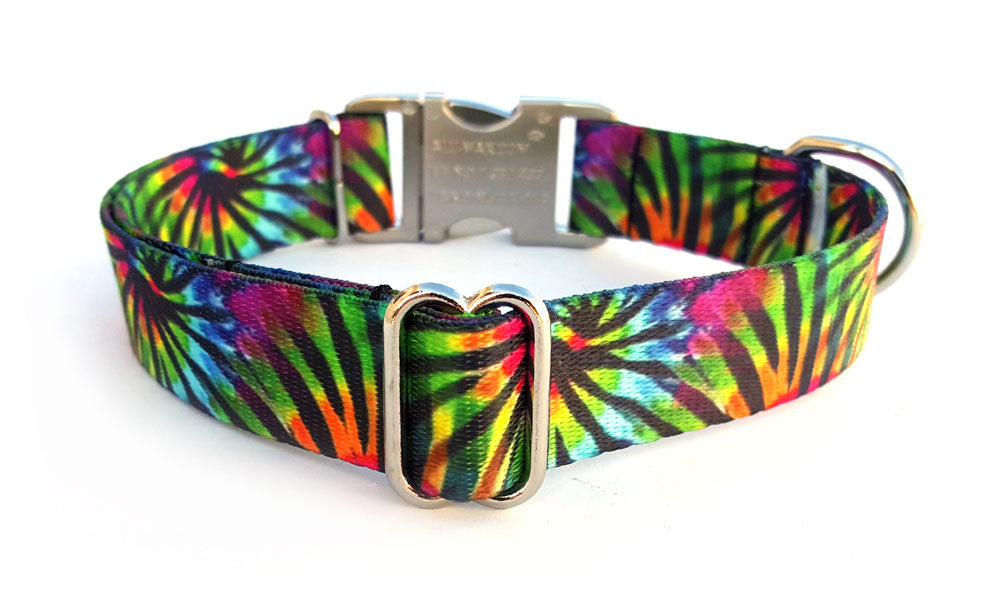 Tie Dye Stripes Polyester Webbing Dog Collar with Laser Engraved Personalized Buckle
