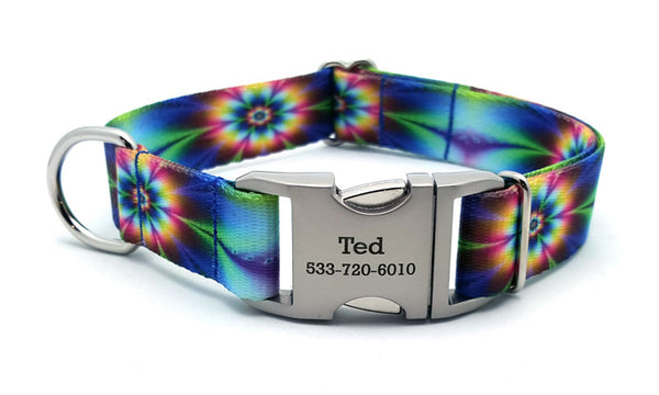 Tie Dye Flowers Polyester Webbing Dog Collar with Laser Engraved Personalized Buckle - Flying Dog Collars