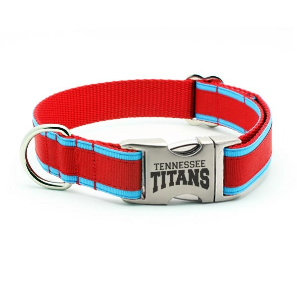 Tennessee Titans Dog Collar with Laser Etched Aluminum Buckle - Flying Dog Collars