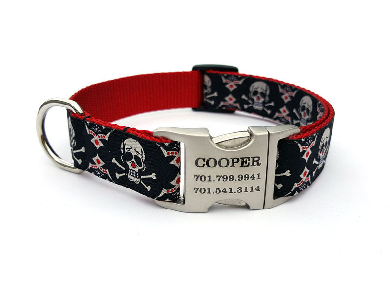 Tribal Skulls Dog Collar with Personalized Buckle - Flying Dog Collars