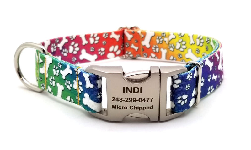 Trippy Doggo Polyester Webbing Dog Collar with Laser Engraved Personalized Buckle