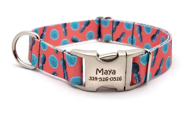 Tropical Tango Polyester Webbing Dog Collar with Laser Engraved Personalized Buckle - Flying Dog Collars