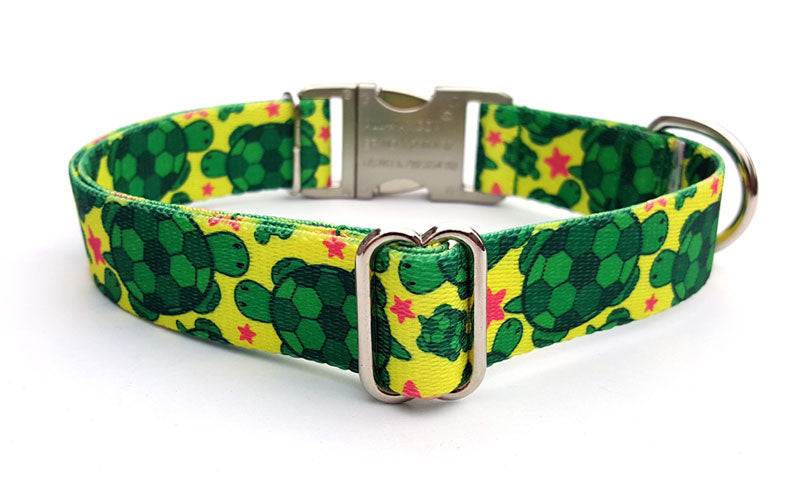 Turtles Polyester Webbing Dog Collar with Laser Engraved Personalized Buckle - Flying Dog Collars