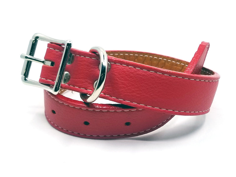Italian Leather Dog Collar with Laser Engraved Nameplate
