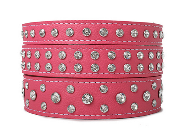 Crystallized Soft Italian Leather Dog Collar - $55 to $159