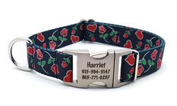Valentine Roses Polyester Webbing Dog Collar with Laser Engraved Personalized Buckle - Flying Dog Collars