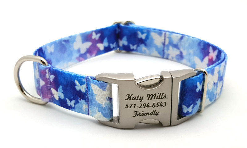 Watercolor Butterflies Polyester Webbing Dog Collar with Laser Engraved Personalized Buckle - Flying Dog Collars