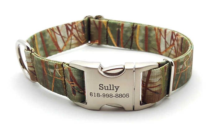Waterfowl Camo Polyester Webbing Dog Collar with Laser Engraved Personalized Buckle - Green