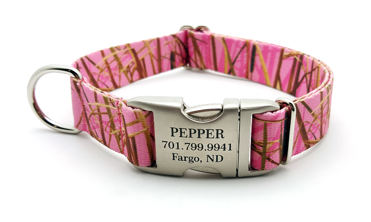 Waterfowl Camo Polyester Webbing Dog Collar with Laser Engraved Personalized Buckle - Pink