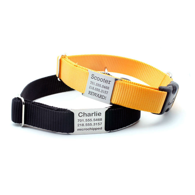 STEALTH Webbing Collar with Laser Engraved Personalized NamePlate