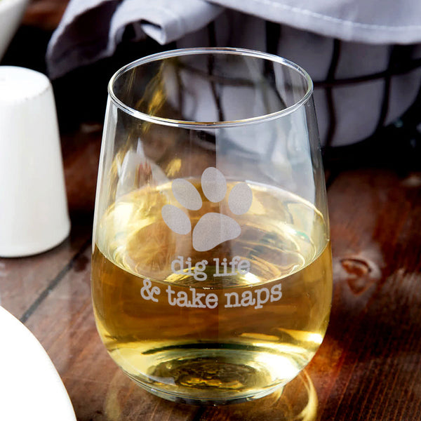 Dog Wisdom 21 oz. Stemless Wine Glasses - Set of Four - Flying Dog Collars