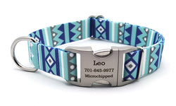 Winter Pines Polyester Webbing Dog Collar with Laser Engraved Personalized Buckle - Flying Dog Collars