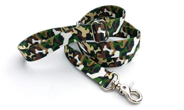 Camo Bones Woodland Polyester Adjustable Handle Leash