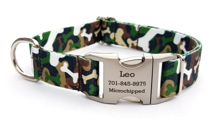 Camo Bones Polyester Webbing Dog Collar with Laser Engraved Personalized Buckle - WOODLAND