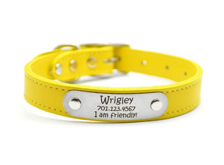 Leather Dog Collar with Laser Engraved Personalized Nameplate - YELLOW