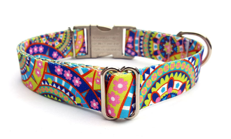 Yellow Boho Mandala Polyester Webbing Dog Collar with Laser Engraved Personalized Buckle