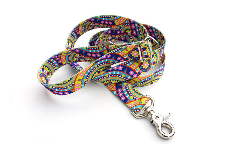Yellow Boho Mandala Adjustable Handle Leash