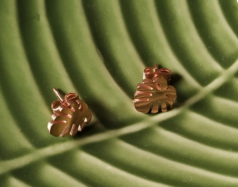 Tropical Palm Leaf Stud Earrings On Palm Leaf