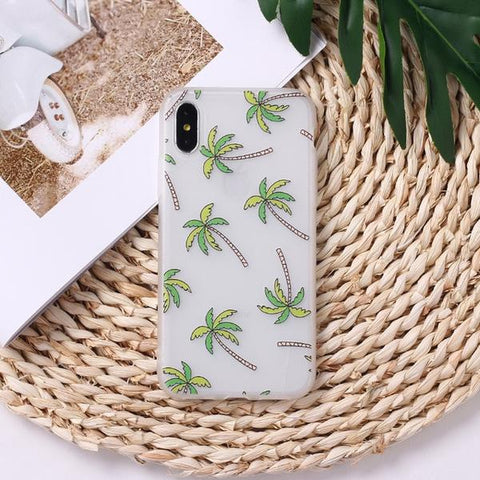 Palm Trees iPhone Case On Straw Mat