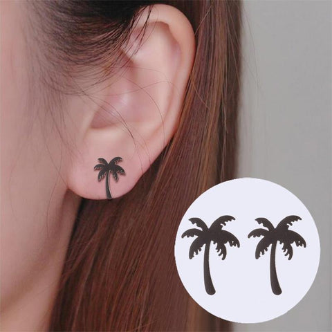 Coconut Palm Tree Stud Earrings