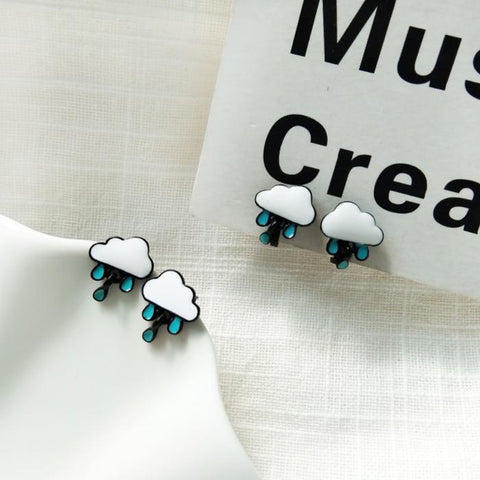 Rainy Cloud Stud Earrings