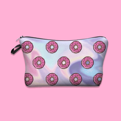 Holographic Donut Pattern Cosmetic Bag