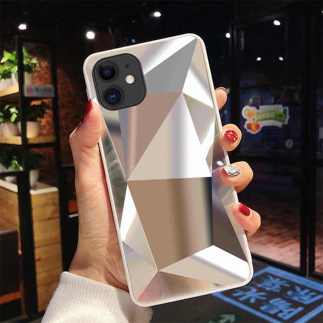 3D Silver Diamond Mirror iPhone Case