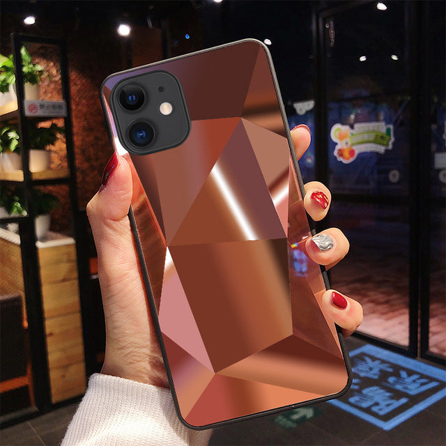 3D Rose Gold Diamond Mirror iPhone Case