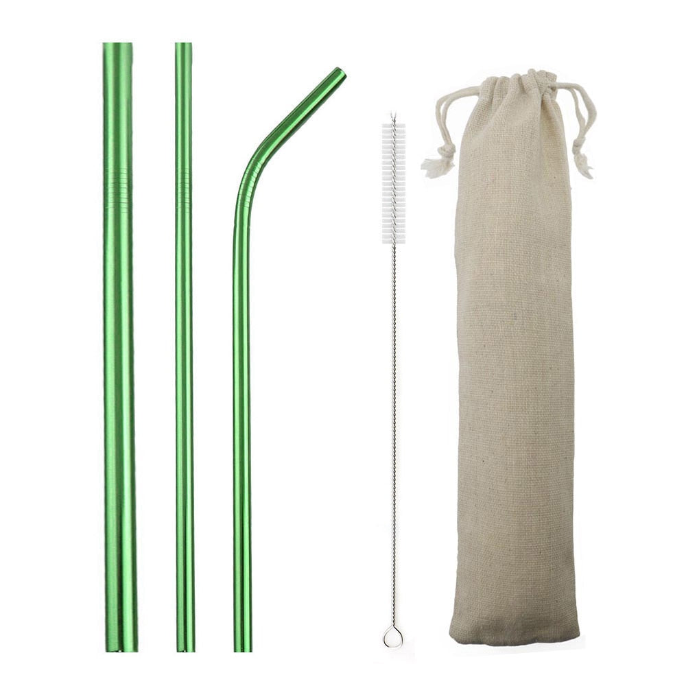 Green Reusable Metal Straws