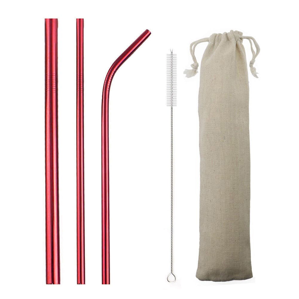 Red Reusable Metal Straws