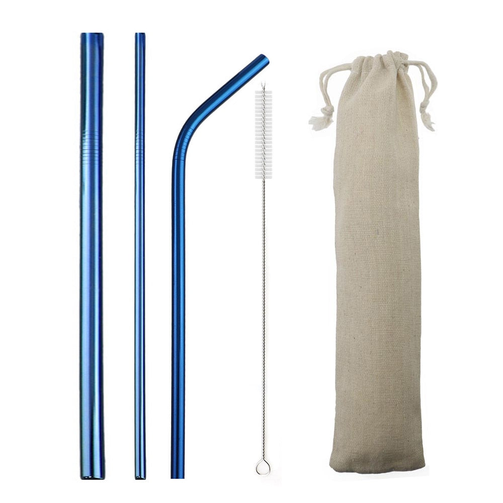 Blue Reusable Metal Straws