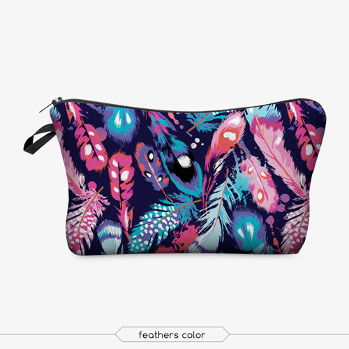 Feather Print Cosmetic Bag