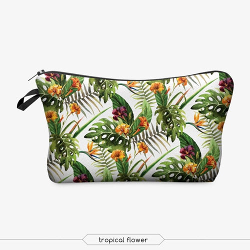 Tropical Flower Print Cosmetic Bag