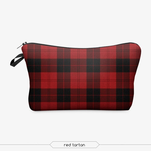 Red Plaid Cosmetic Bag