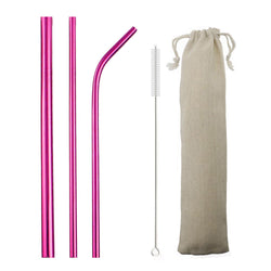 Pink Reusable Metal Straws